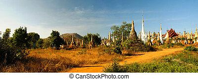 ミャンマー, パノラマ, 仏教, stupas, 台無しにされる, 旅館, dein