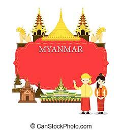 ミャンマー, 人々, フレーム, ランドマーク, 伝統的な衣類