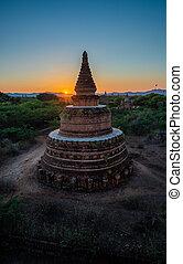 ミャンマー, 日の出, 上に, bagan, 塔