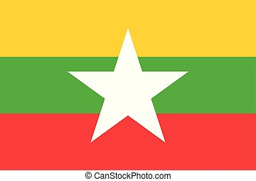 ミャンマー, 星, 国民, 色, 旗, vector.