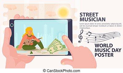 ミュージカル, アイコン, 日, 通り, 手掛かり, 旗, 広告板, 世界音楽, 道具, 音楽家, 女の子, 手, シュート, 平ら, 漫画, 電話, イラスト, ベクトル, 彼女, メモ, 座る