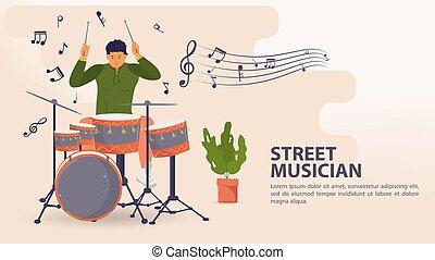 ミュージカル, 旗, 人, 平ら, メモ, イラスト, ドラム, ベクトル, 遊び, 通りの 音楽家, シンバル, 漫画