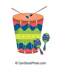 ミュージカル, maracas, ドラム, 道具
