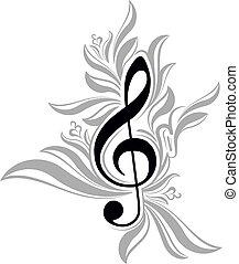 ミュージカル, treble, 背景, clef., 抽象的