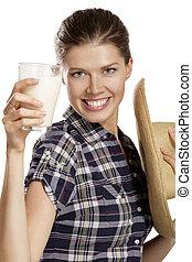 ミルク, 女, 飲むこと, 若い