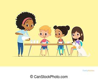 ミルク, 食事。, フライヤ, 座りなさい, 持ちなさい, 多人種である, 健康, poster., 微笑, 子供, ベクトル, 家族の食べること, 子供, イラスト, 間, 母, 朝, テーブル, 朝食, concept., 活動, 毎日, 注ぎなさい, gasses.