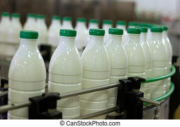 ミルク, plant., 搾乳場, bottles., コンベヤー