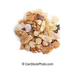 ミルラ樹脂, 隔離された, 白い背景, frankincense
