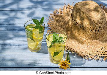 ミント, 冷たい飲み物, レモン葉