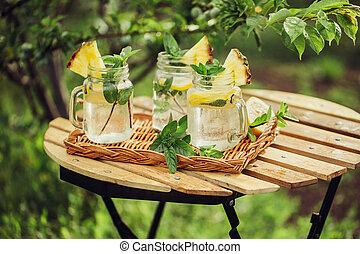 ミント, 冷却, 飲みなさい, レモン