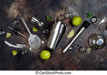 ミント, 氷, バーテンダー, ライム, 道具