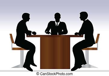 ミーティングの人々, シルエット, ビジネス, モデル