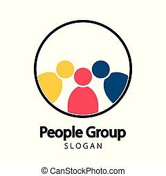ミーティングの人々, チームワーク, 部屋, logo.