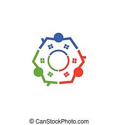 ミーティングの人々, デザイン, 一緒に, 3, 創造性, ロゴ