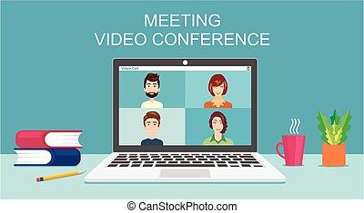 ミーティング, ∥あるいは∥, 正常, 一緒に, リモート, ビデオ, 勉強, オンラインで, 接続, 人々, ...