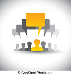 ミーティング, これ, 会社, 抽象的, スタッフ, &, graphic., ミーティング, 社会, リーダー, 人々, 組合, 板, ベクトル, 従業員, グラフィック, 学生, 声, アイコン, リーダーシップ, -, 媒体, ∥など∥, 表す, また, ∥あるいは∥, コミュニケーション