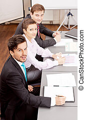 ミーティング, グループ, オフィス, ビジネス チーム