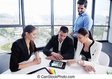 ミーティング, グループ, ビジネスオフィス, 人々