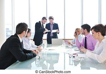 ミーティング, グループ, ビジネス 人々