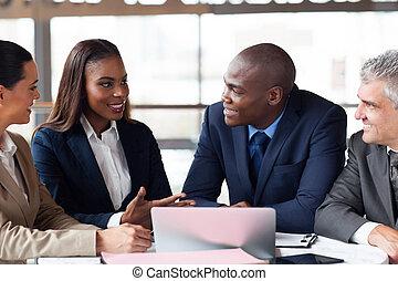 ミーティング, グループ, 持つこと, ビジネス 人々