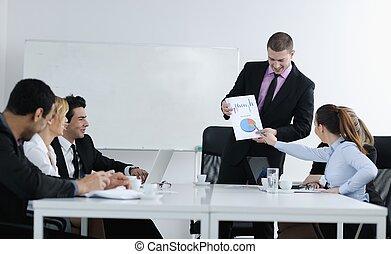 ミーティング, グループ, 若い, ビジネス 人々