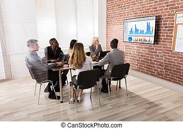 ミーティング, グループ, businesspeople