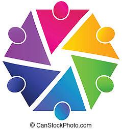 ミーティング, チームワーク, ビジネス, ロゴ