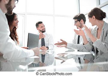 ミーティング, ビジネスオフィス, チーム