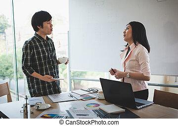 ミーティング, 労働者, グループ, オフィス, ビジネス