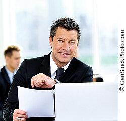 ミーティング, 持つこと, ビジネス 人々