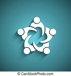 ミーティング, circle., ビジネス 人々