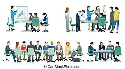 ミーティング, -, illustration.eps, 協力, ビジネス チーム