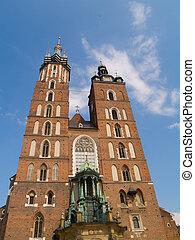 メアリーの, ポーランド, krakow, 聖者, 教会
