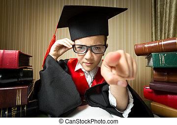 メガネ, 指すこと, 帽子, 卒業, カメラ, 女の子