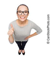メガネ, 提示, の上, 女, アジア人, 親指