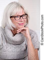 メガネ, 肖像画, 微笑の 女性, シニア