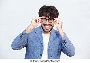 メガネ, 若い, に対して, の上, 背景, 終わり, 微笑の人, 白, ハンサム