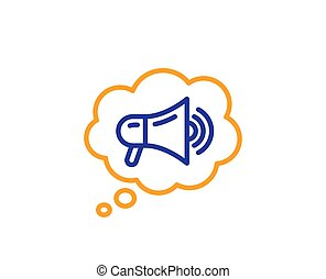 メガホン, ベクトル, 広告, 大使, 装置, スピーチ, icon., bubble., 印。, 線, ブランド