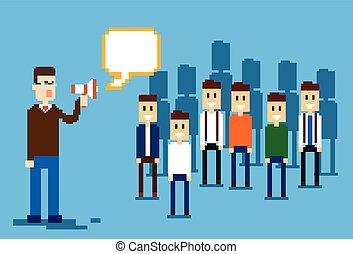 メガホン, 把握, 上司, 人々, ビジネスマン, ビジネス, リーダー, businesspeople, チーム, 拡声器, グループ, 同僚