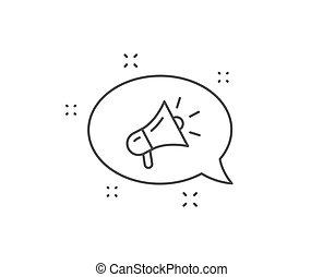 メガホン, 装置, icon., ベクトル, ブランド, 印。, ambassador., 広告, 線