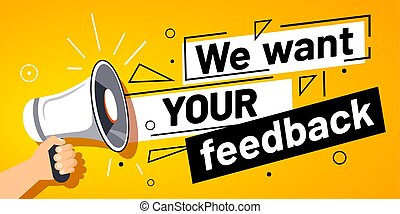 メガホン, 顧客, ベクトル, 旗, 私達, feedbacks, ほしい, 手, feedback., あなたの, サービス, イラスト, 意見, 調査, 昇進