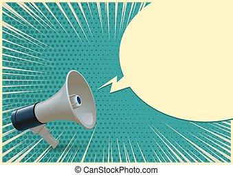 メガホン, illustration., ベクトル, バックグラウンド。, 現実的, bullhorn, ブランク, 青, 隔離された, 白, ポンとはじけなさい, 空色, スピーチ, 芸術, 泡, 3d