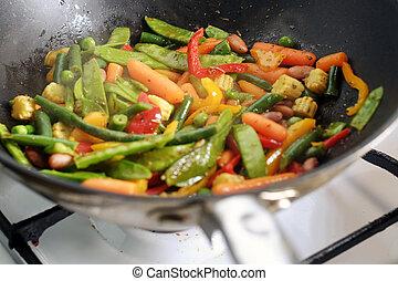 メキシコの野菜, 混合, 焼けている, 中華なべ, パン
