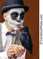 メキシコ人, からす, 構造, 黒, calaveras, 接吻, 人