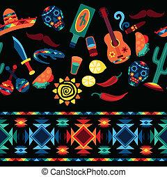 メキシコ人, アイコン, パターン, seamless, style., ネイティブ