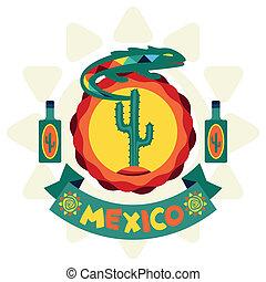 メキシコ人, デザイン, 背景, 民族, style., ネイティブ