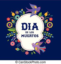 メキシコ人, ポスター, カラフルである, フライヤ, de, dia, 挨拶, los, flowers., 祝祭, 死んだ, パーティー, 休日, 旗, 日, カード, moertos