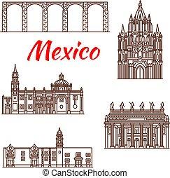 メキシコ人, 建築, 旅行, ランドマーク, 線である, アイコン