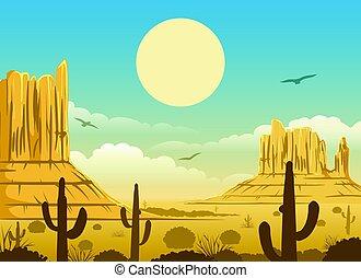メキシコ人, 日没, 砂漠, 背景