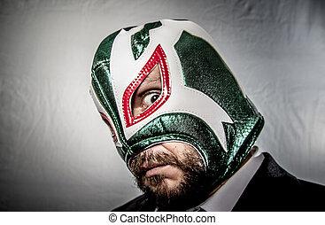 メキシコ人, 服を着せられる, 怒る, マスク, 戦闘機, ビジネスマンのスーツ, タイ